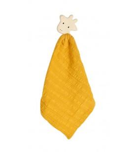 Tikiri Knuffeldoek geel giraf met hoofdje natuurlijk rubber