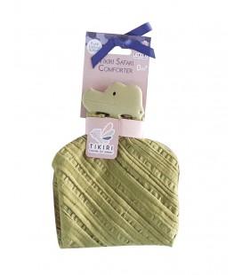 Tikiri Knuffeldoek groen krokodil met hoofdje natuurlijk rubber