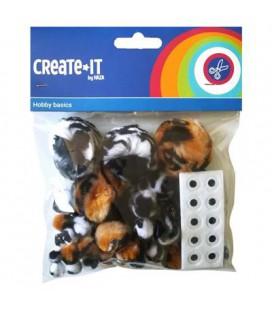 Create-it pompoms animal mix + oogjes 75 stuks