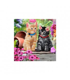 Crystal art diamond painting kaart katten 18 x 18 cm