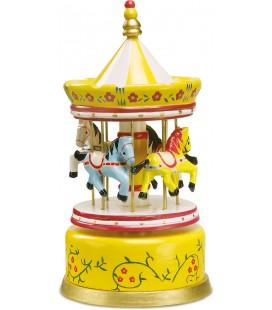 muziekdoos carrousel geel paarden