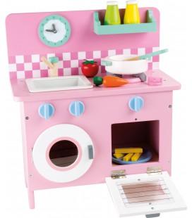 Houten roze retro keuken