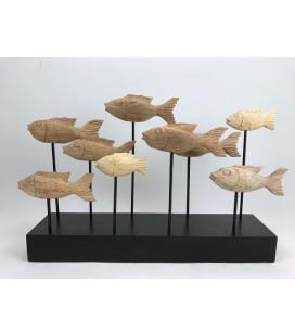 Vissenschool op sokkel 50x12 hoog ca 40 cm