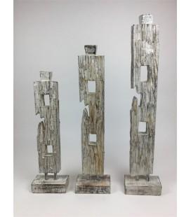 Abstract set 3 H 50/60/70 cm Natural Wash