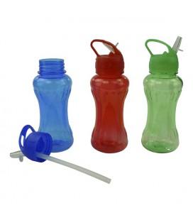 Drinkfles tranparant kunststof 500ml met drinktuit en rietje. verkrijgbaar in verschillende kleuren