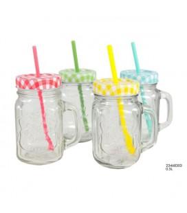Drinkbeker met deksel en rietje 0,5 liter glas