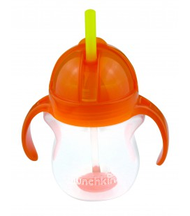 Munchkin Click Lock Tip en sip straw cup/ verzwaarde riettrainercup - roze/oranje