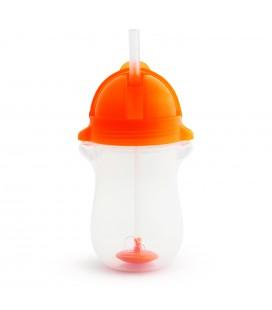 Munchkin Click Lock Tip en sip sippy straw cup/verzwaarde rietjesbeker - roze/oranje 12 mnd