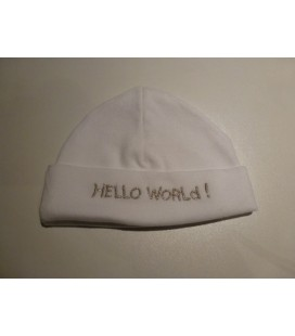Babymutsje Hello world/ wit zilver