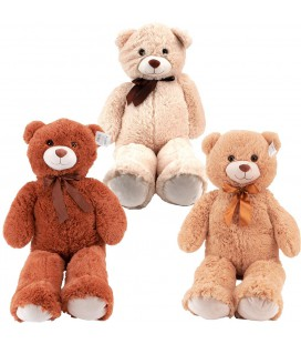 BEAR WITH RIBBON 100 CM 3 ASSORTI
