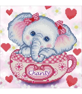 Charity Olifant Diamond Dotz: 40x40 cm