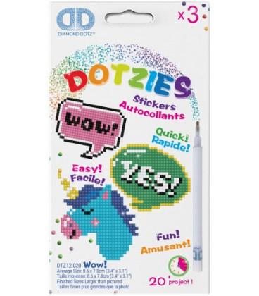 Stickerset Dotzies 3 stuks: WOW 9x8 cm