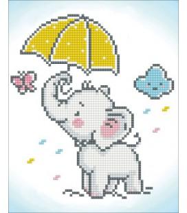 Diamond painting Baby olifantje 28x 33 cm