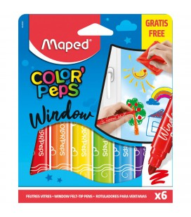 VILTSTIFTEN MAPED WINDOW PAINT 6 KLEUREN MET DOEK
