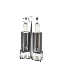 Olie en azijnstel glas 14,5x27x7,5cm