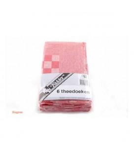 Theedoeken geblokt 60x65 rood pak a 6 st.