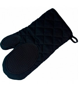 Ovenhandschoen met silicone grip 30x18cm zwart