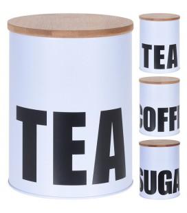 Voorraadblik Tea, Coffee of sugar (per stuk/ assorti geleverd)