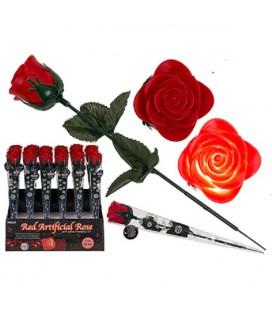 Rode kunststof roos met LED kleurveranderend 33x4cm