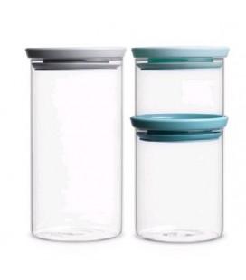 Brabantia Voorraadbus set/3 glas stapelbaar b(0.35,0.6,1.1L)
