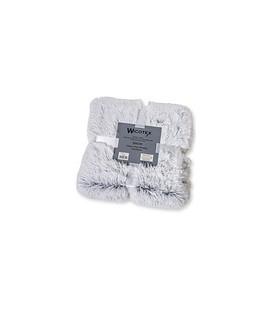 Plaid-dekens- kunst bont Snow 150x200cm wit grijs polyester hoog polig