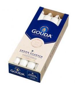 Gouda kroonkaarsen wit doos 8 stuks