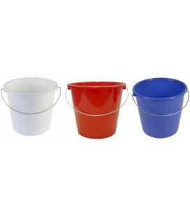 Huishoudemmer 5 ltr blauw, wit of rood met stalen hengsel