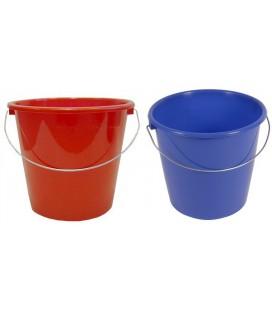 Huishoudemmer 10 ltr blauw of rood gesorteerd met stalen hengsel