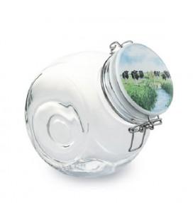 Wiebe van der Zee Snoeppot 21x12x18cm 2,3 liter glas en kermamiek