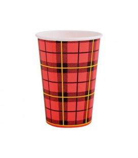 Koffiebeker Scotty rood geruit 180cc karton pak a 100 stuks