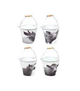 Esscher Design emmer boerderijdieren zwart /wit L20.3xB44.5x H25 cm