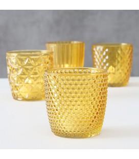 Boltze Home Windlicht Marilu 7,3xH7,5cm glas gelakt oker geel set a 4 stuks