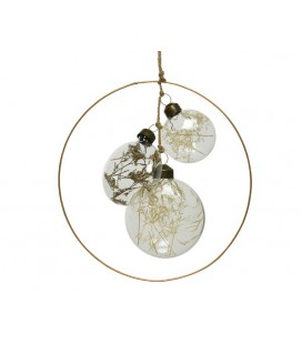 Ring met glazen deco met droogbloemetjes Ø17,5cm transparant
