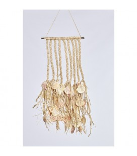 Natural Collections Wand deco raffia met schelpen 59x28cm