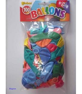 Globos ballonnen diverse kleuren mix zak a 100 stuks