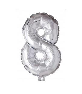 """Folie OpblaasCijfer """"8"""" zilver  40cm"""