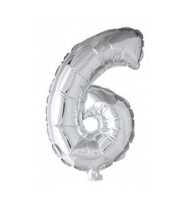 """Folie OpblaasCijfer """"6"""" zilver  40cm"""