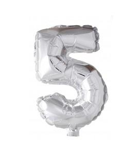 """Folie OpblaasCijfer """"5"""" zilver  40cm"""
