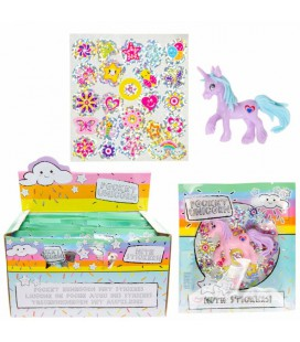 Pocket unicorn -eenhoorn  + stickers in giftbag