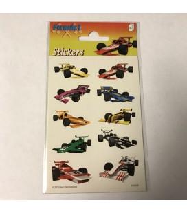 Stickervel formule 1 race auto's  afm16x9 cm set van 3