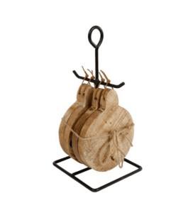Onderzetter met standaard rond naturel a4 hout 10x10x21cm
