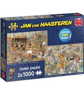 Jan van Haasteren puzzel 2x 1000 stukjes 20052 Rembrandt's studio / rariteitenkabinet