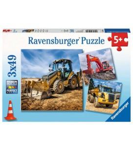 Puzzel Bouwmachines aan het werk: 3x49 stukjes (050321)