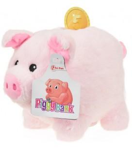 pluche Spaarpot varken Toi-Toys: roze 19 cm (75071A)