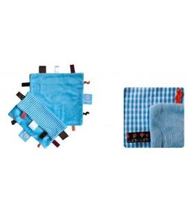 Snoozebaby - Label doekje licht blauw ruit