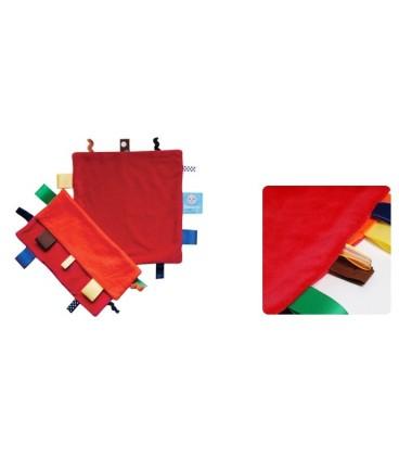 Snoozebaby - Label doekje oranje /rood