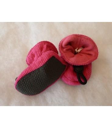 Stoffen slofje fuchsia roze  - melton