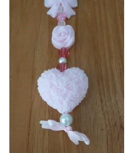 sierhart, roosje en strikje zeepketting