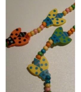 Houten ketting - armband met grote lieveheersbeestje