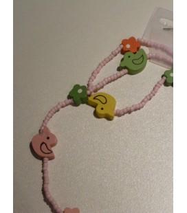Roze kralen ketting en armband eend/ bloem